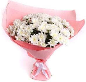 Букет 15 белых кустовых хризантем