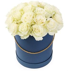 25 роз Мондиаль в шляпной коробке
