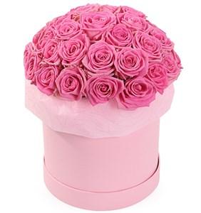 35 роз Аква в шляпной коробке