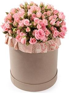 Букет Розовое утро в шляпной коробке