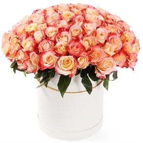 101 роза Кабаре в шляпной коробке